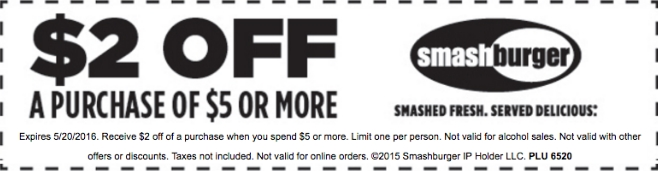 Smashburger Coupon March 2017 $2 off $5 at Smashburger restaurants
