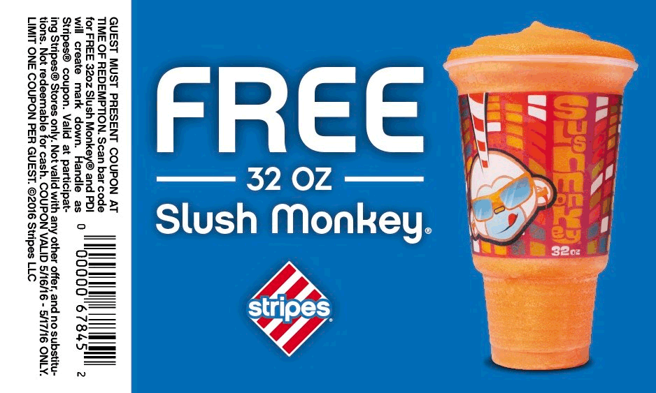 Stripes Coupon April 2017 Free 32oz slushie today at Stripes gas stations