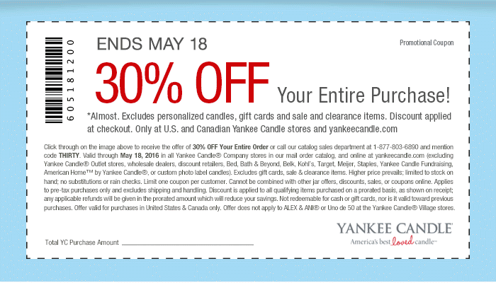 Yankee Candle Coupon March 2017 30% off everything at Yankee Candle, or online via promo code THIRTY