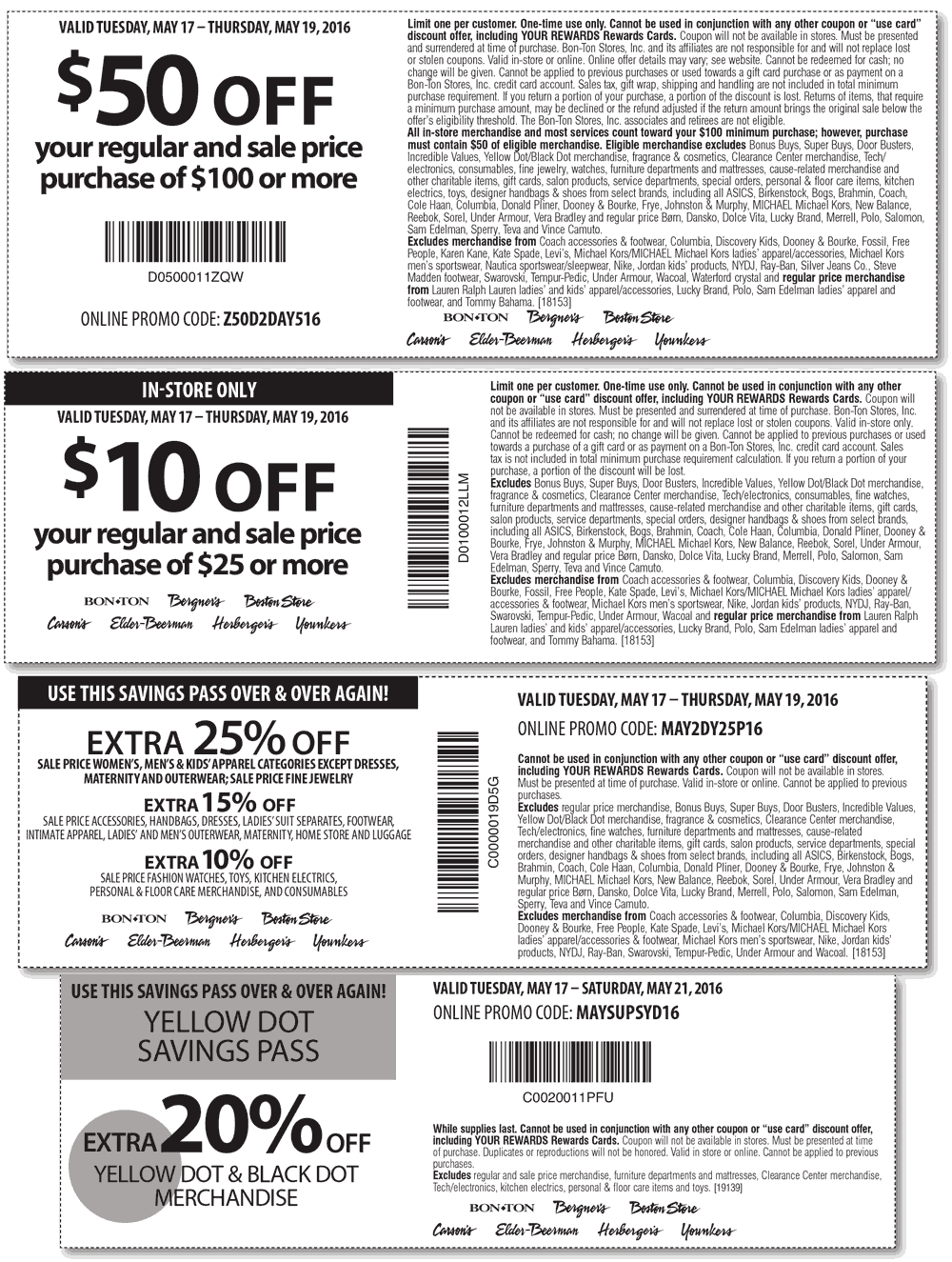 Carsons Coupon July 2017 $10 off $25 & more at Carsons, Bon Ton & sister stores, or online via promo code Z50D2DAY516