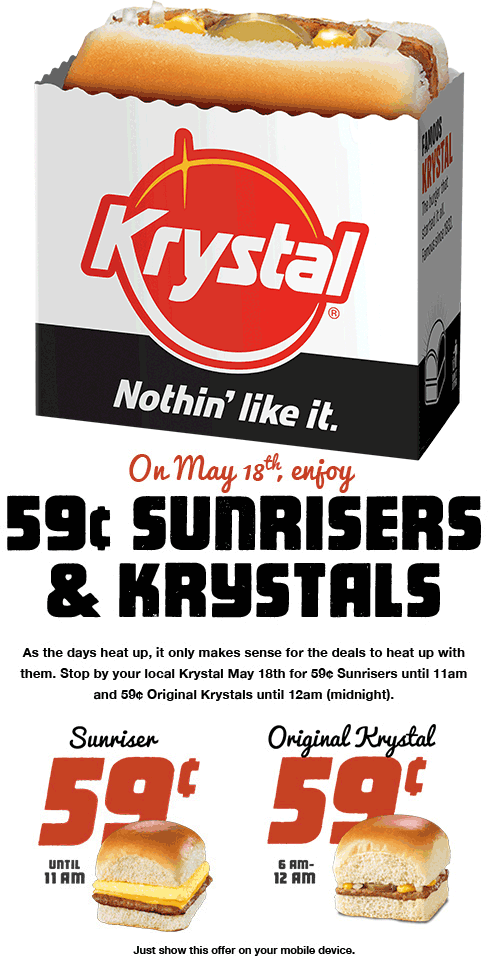 Krystal Coupon April 2017 .59 cent burgers Thursday at Krystal