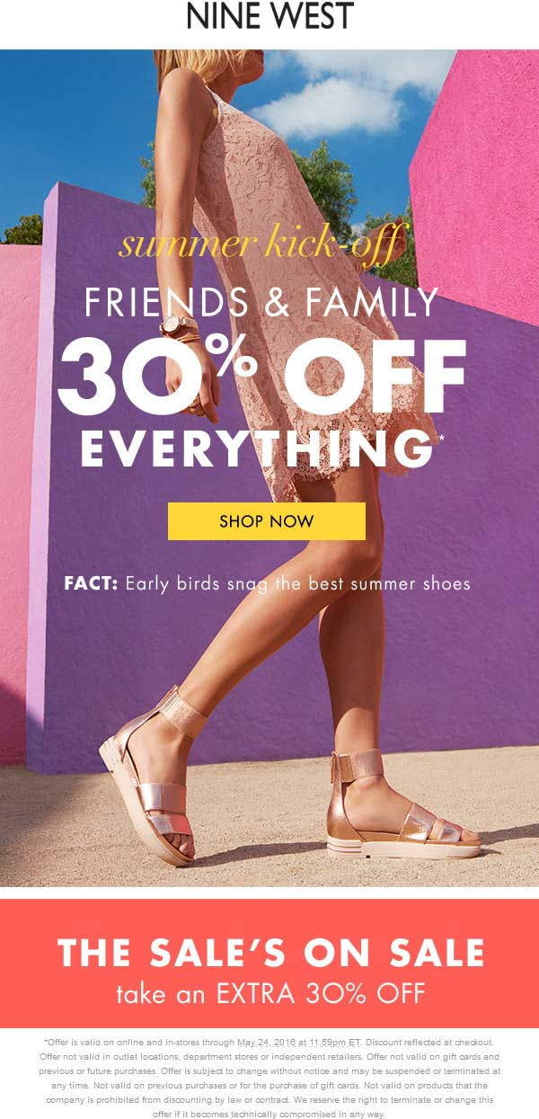 Nine West Coupon March 2018 30% off everything at Nine West, ditto online