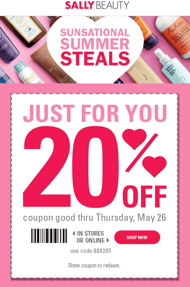 Sally Beauty Coupon June 2017 20% off at Sally Beauty, or online via promo code 888285