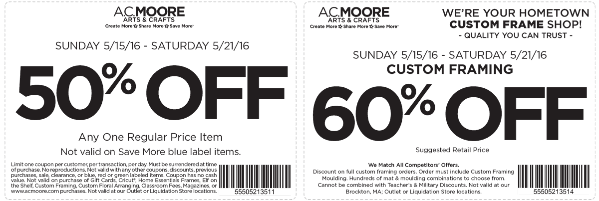 A.C. Moore Coupon July 2017 50% off a single item at A.C. Moore