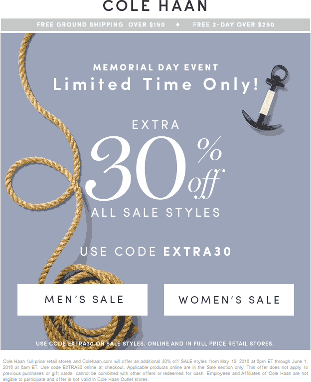Cole Haan Coupon June 2017 Extra 30% off sale items at Cole Haan, or online via promo code EXTRA30