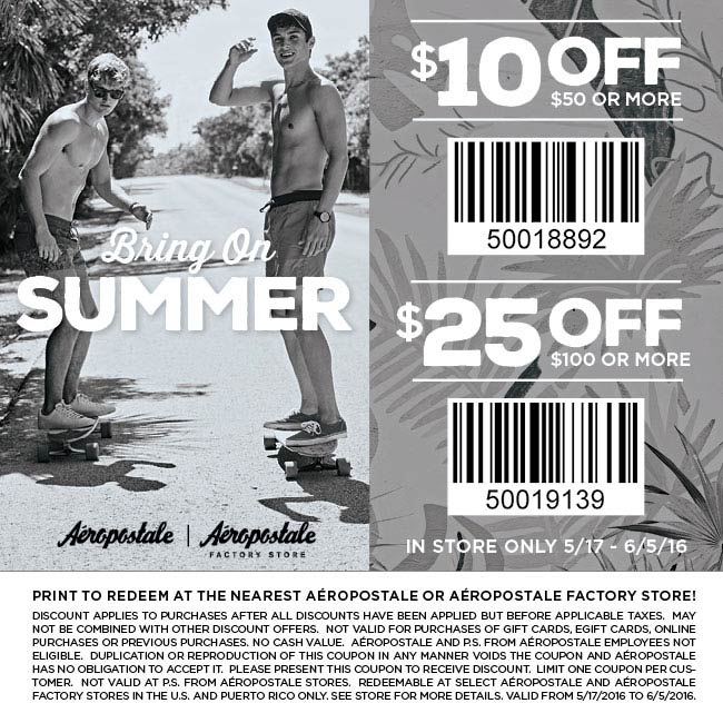 Aeropostale Coupon December 2016 $10 off $50 & more at Aeropostale, ditto online