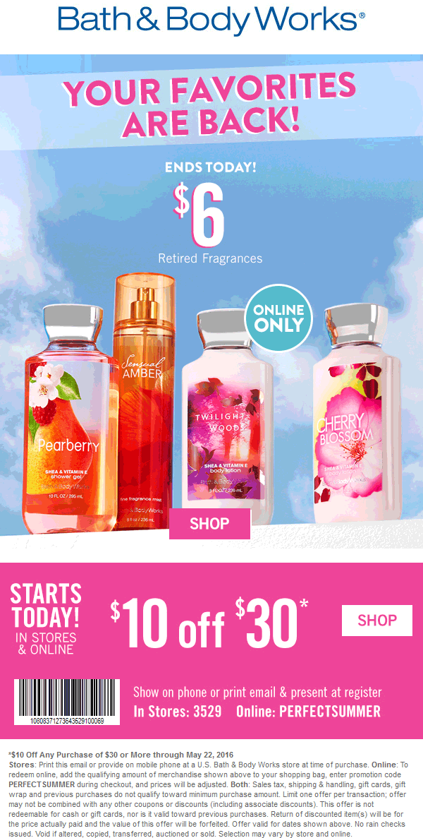 Bath & Body Works Coupon April 2017 $10 off $30 at Bath & Body Works, or online via promo code PERFECTSUMMER