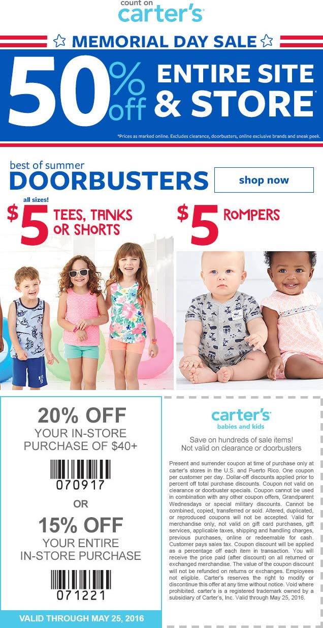 Carters Coupon May 2018 50% off everything + another 15-20% off at Carters, ditto online