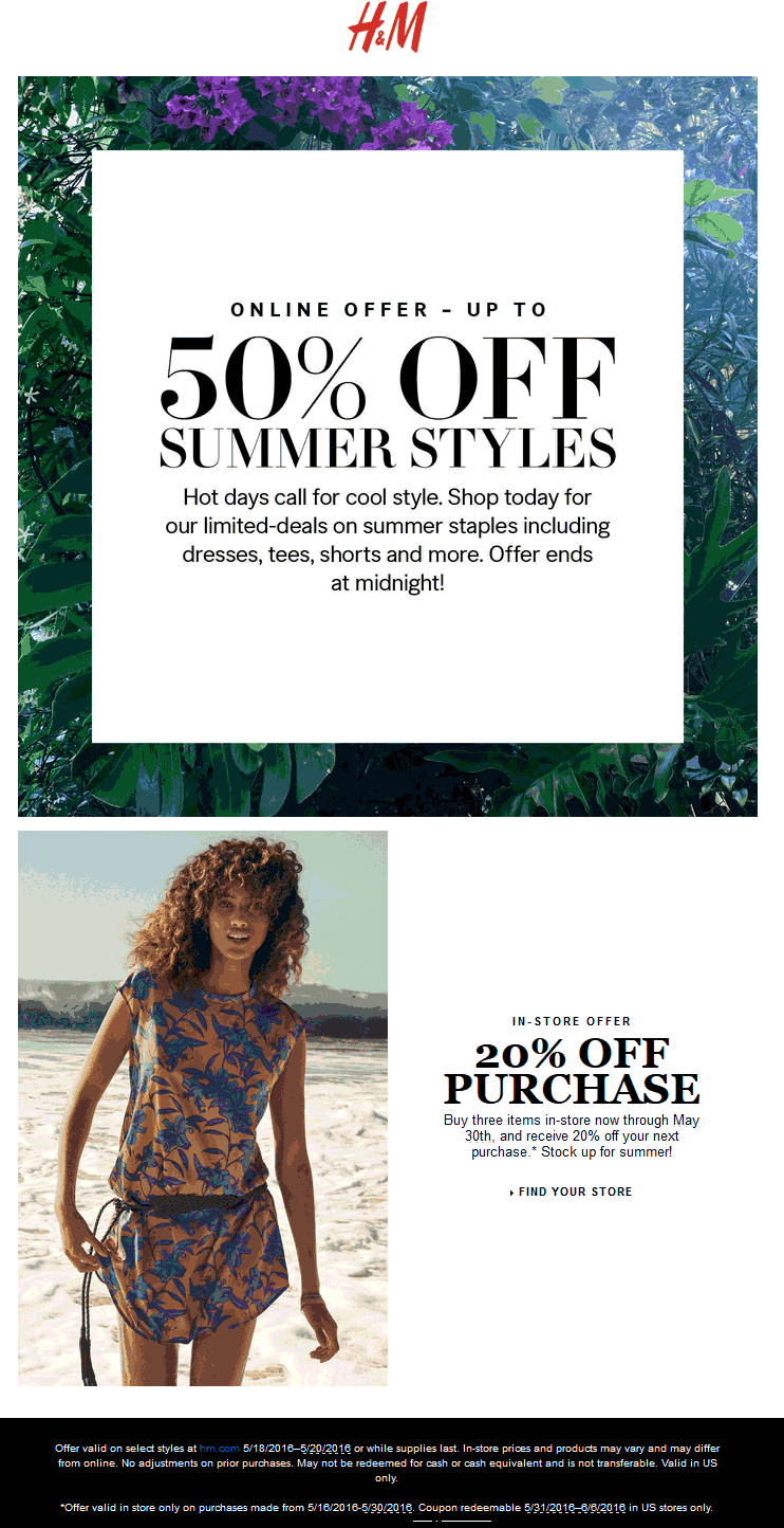 Coupon policy: Only one H&M coupon can be applied to a single transaction. Some coupons are not valid on clearance or sale items, with the exception of the recycled clothing discount. Some coupons are not valid on clearance or sale items, with the exception of the recycled clothing discount.