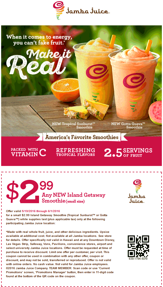 Jamba Juice Coupon June 2017 $2.99 island getaway smoothie at Jamba Juice