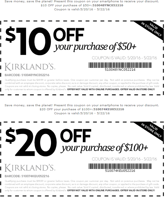 Kirklands Coupon December 2016 $10 off $50 & more at Kirklands