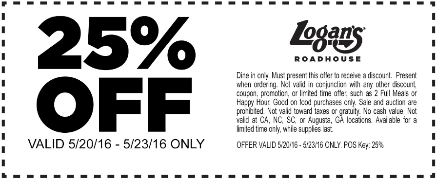 Logans Roadhouse Coupon September 2017 25% off at Logans Roadhouse restaurants