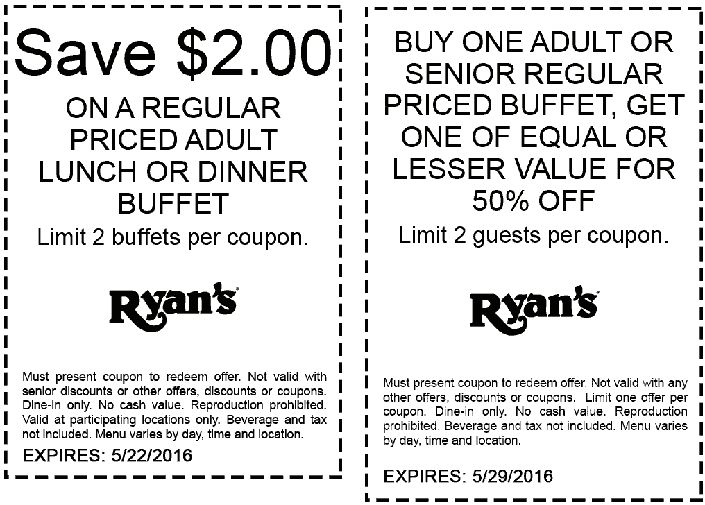 Ryans Coupon January 2017 $2 off your buffet & more at Ryans
