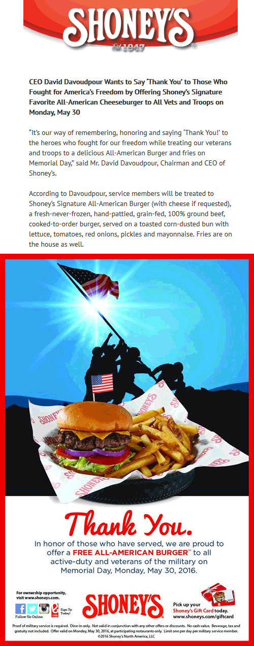 Shoneys Coupon April 2018 Free burger to military the 30th at Shoneys restaurants