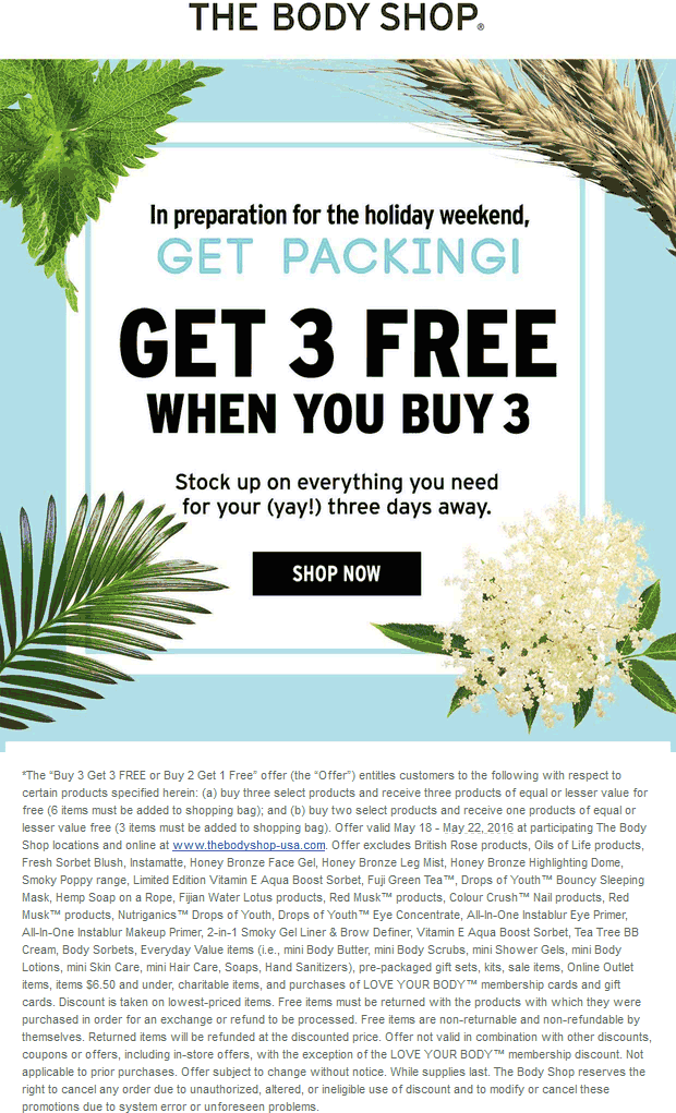 The Body Shop Coupon March 2017 6-for-3 at The Body Shop, ditto online