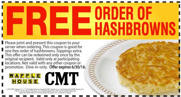 Waffle House Coupon September 2017 Free hashbrowns at Waffle House