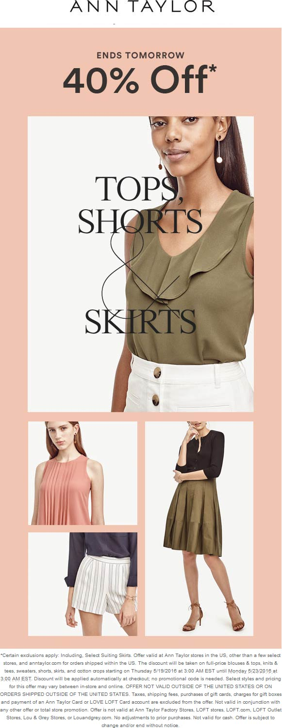 Ann Taylor Coupon May 2018 40% off tops & bottoms at Ann Taylor, ditto online