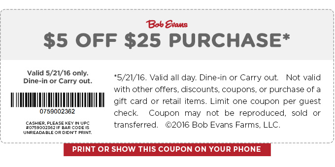 Bob Evans Coupon April 2018 $5 off $25 today at Bob Evans restaurants
