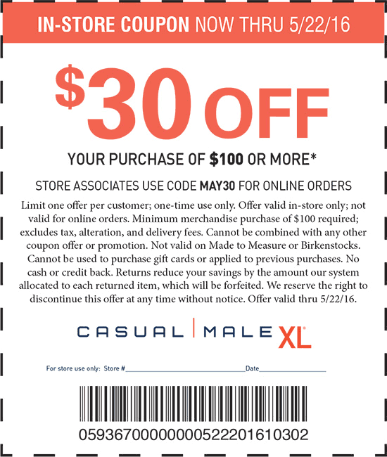 Casual Male XL Coupon May 2018 $30 off $100 at Casual Male XL, or online via promo code MAY30