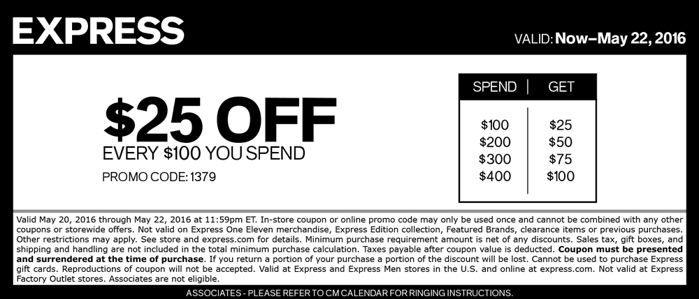 Express Coupon June 2017 $25 off every $100 at Express, or online via promo code 1379