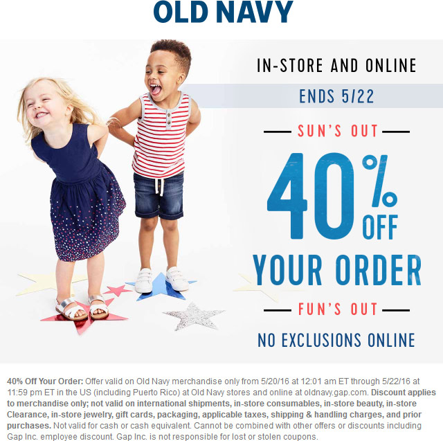 Old Navy Coupon March 2018 40% off at Old Navy, ditto online