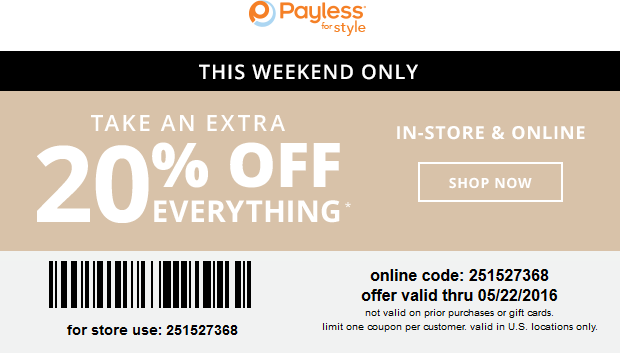 Payless Shoesource Coupon March 2018 20% off everything at Payless Shoesource, or online via promo code 251527368