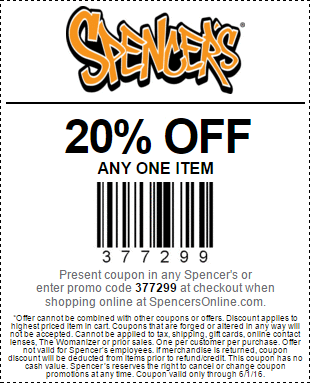 Spencers Coupon July 2017 20% off a single item at Spencers, or online via promo code 377299
