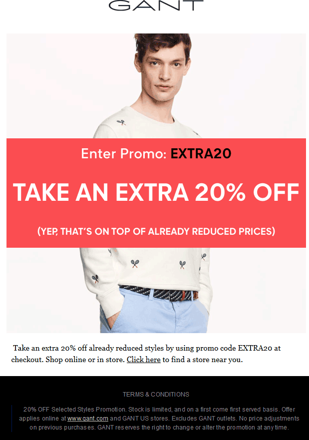 Gant Coupon January 2017 Extra 20% off at Gant, or online via promo code EXTRA20