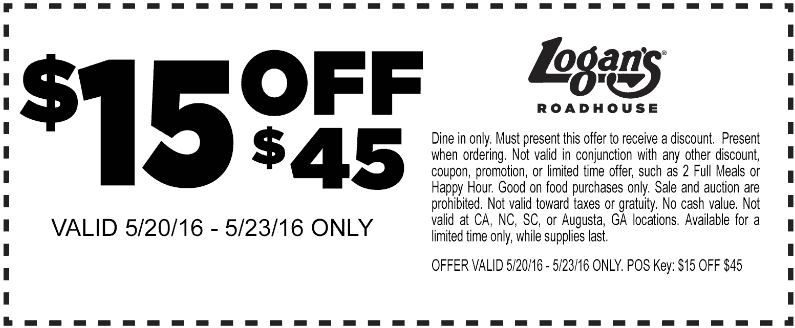 Logans Roadhouse Coupon November 2017 $15 off $45 at Logans Roadhouse restaurants