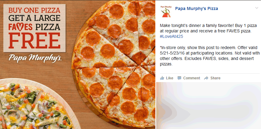 Papa Murphys Coupon May 2018 Second pizza free at Papa Murphys