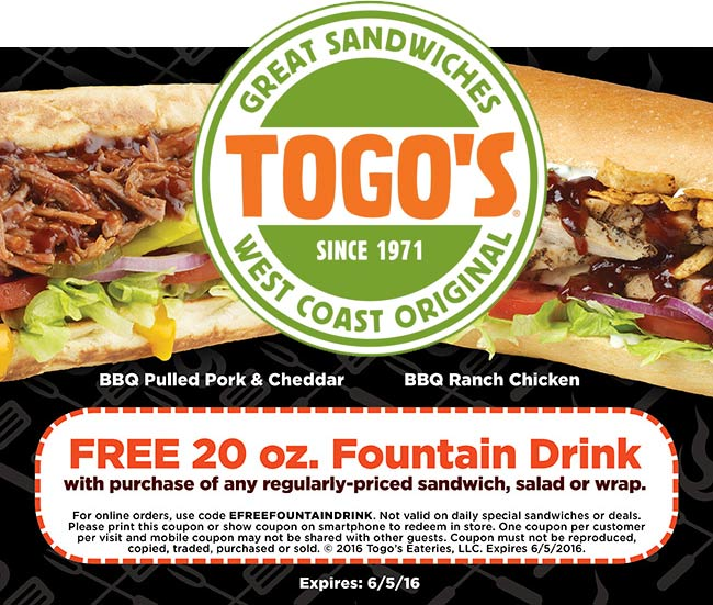 Togos Coupon June 2017 Free drink with your sandwich, salad or wrap at Togos