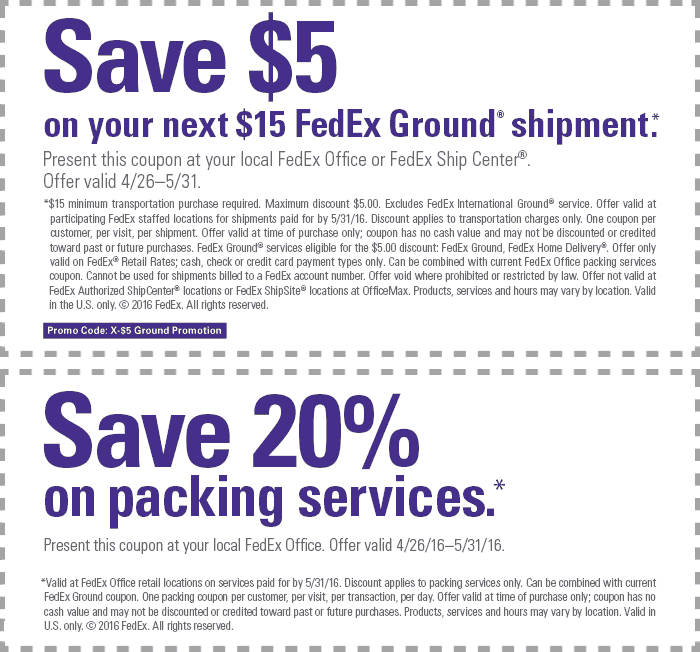 FedEx Coupon August 2017 $5 off $15 & more at FedEx