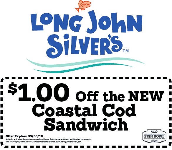 Long John Silvers Coupon April 2017 Knock a buck off your cod sandwich at Long John Silvers