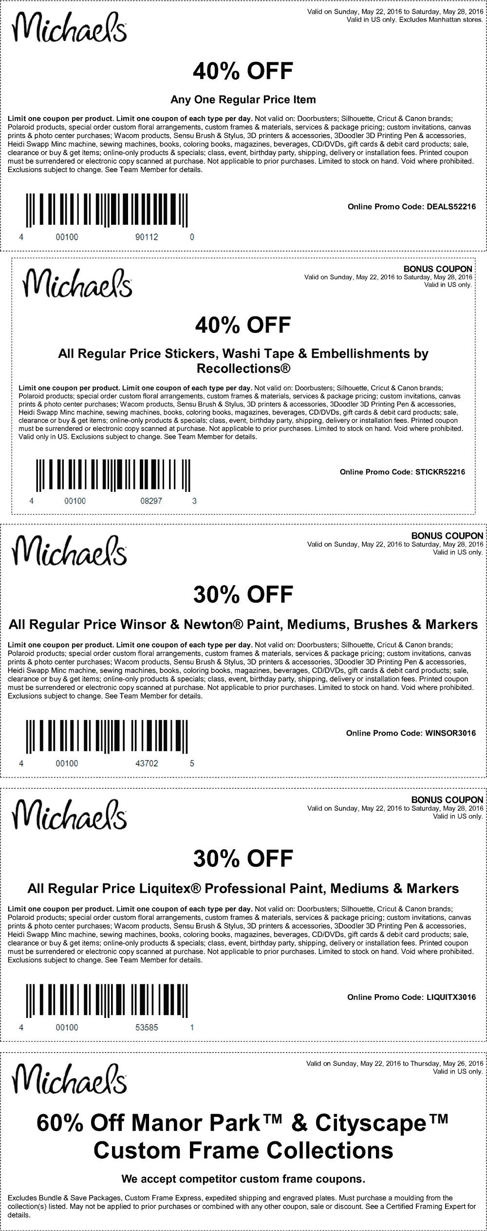 Michaels Coupon August 2017 40% off a single item & more at Michaels, or online via promo code DEALS52216
