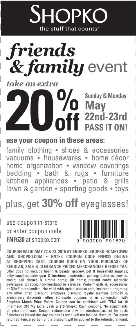 Shopko Coupon February 2017 Extra 20% off today at Shopko, or online via promo code FNF630