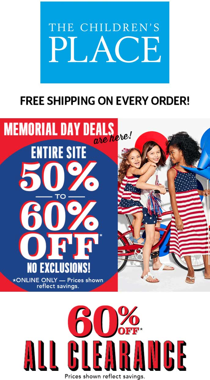 ChildrensPlace.com Promo Coupon 50-60% off everything online at The Childrens Place