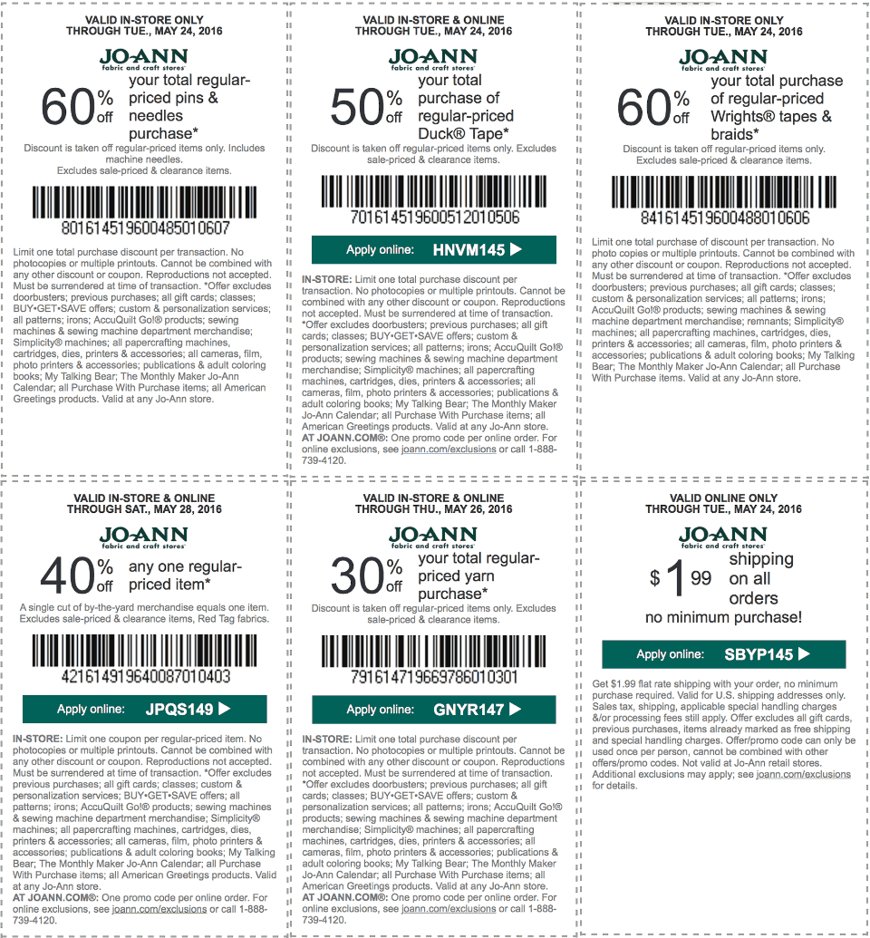 Jo-Ann Fabric Coupon February 2017 40% off a single item & more at Jo-Ann Fabric, or online via promo code JPQS149