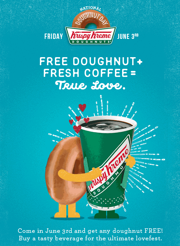 Krispy Kreme Coupon May 2018 Free doughnut the 3rd at Krispy Kreme - no purchase necessary
