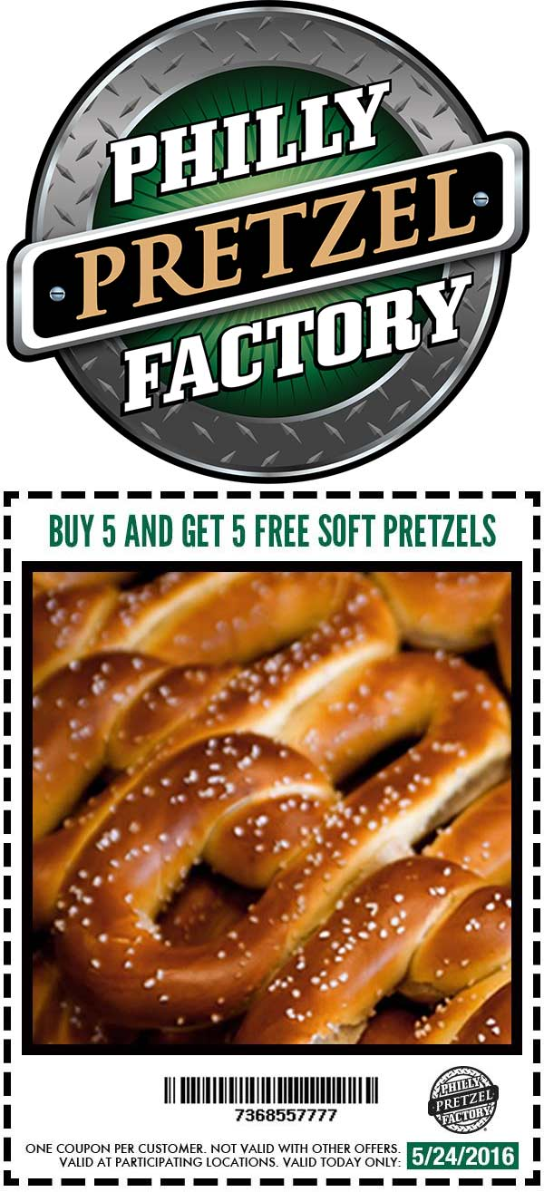 Philly Pretzel Factory Coupon April 2017 10 for 5 today at Philly Pretzel Factory