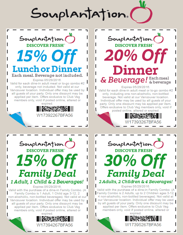 Souplantation Coupon January 2018 15-20% off at Souplantation restaurants