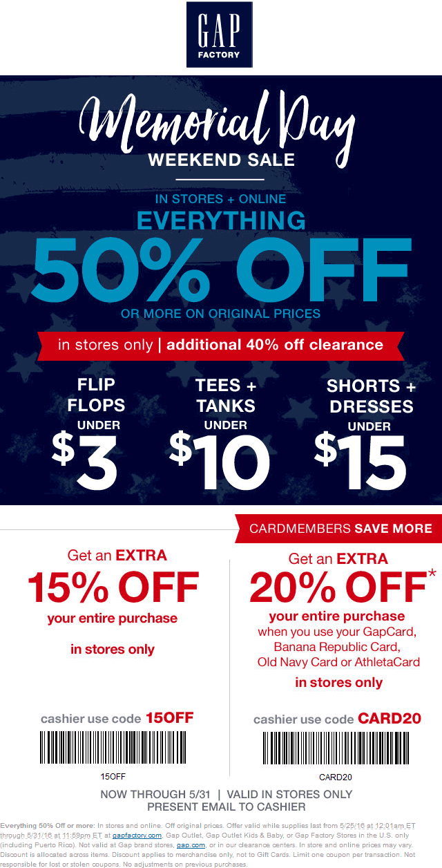 Gap Factory Coupon January 2018 Extra 50% off everything + 15% more at Gap Factory, ditto online