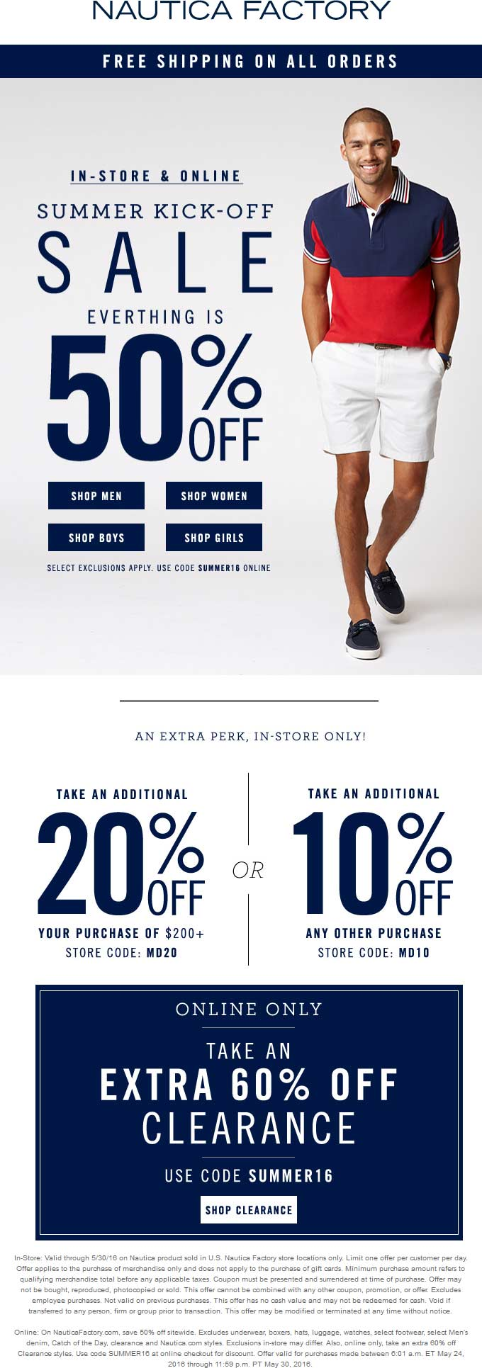 Nautica Factory Coupon April 2018 Extra 50% off everything + 10-20% more at Nautica Factory, or online via promo code SUMMER16