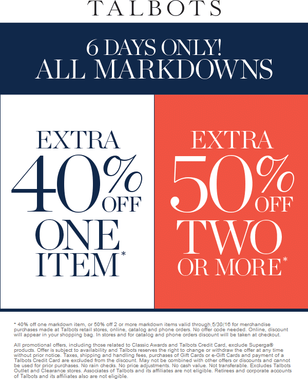Talbots Coupon July 2017 Extra 40-50% off markdowns at Talbots, ditto online