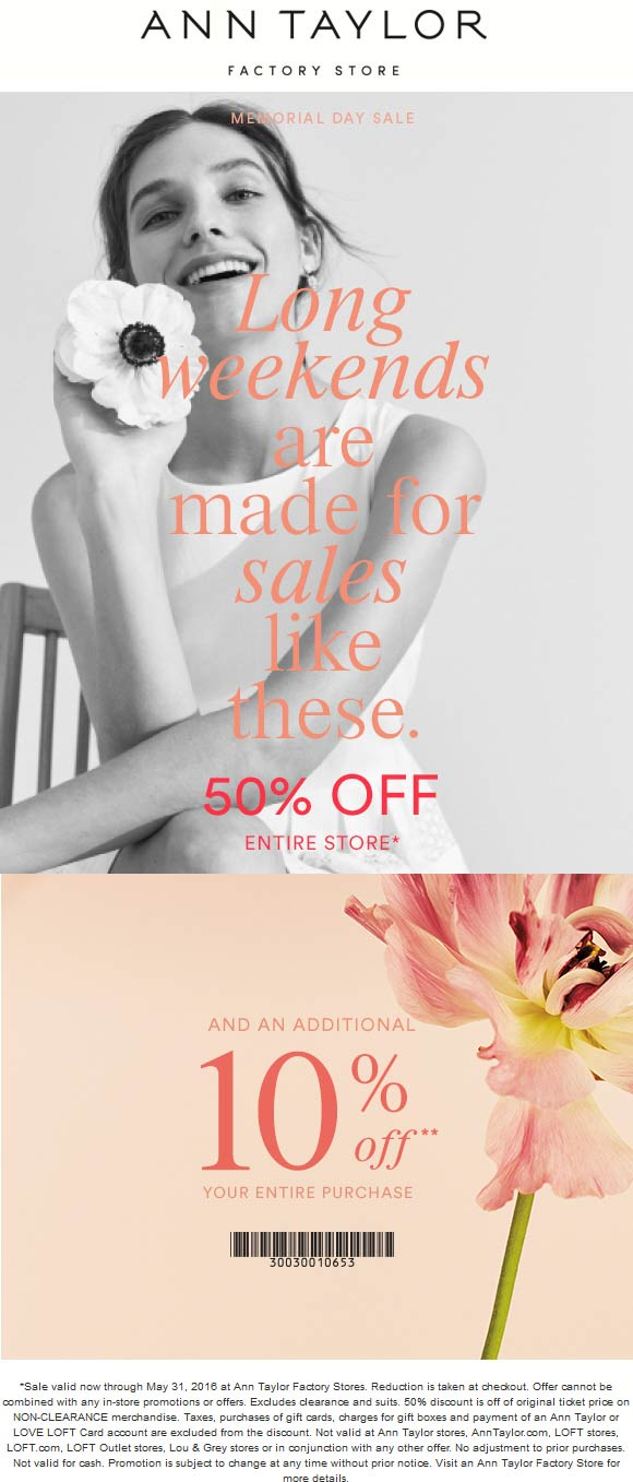 Ann Taylor Factory Coupon January 2017 Extra 60% off at Ann Taylor Factory