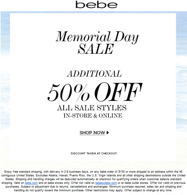 Bebe Coupon August 2018 Extra 50% off sale styles at bebe, ditto online