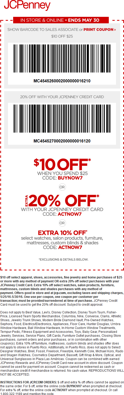 JCPenney Coupon October 2016 $10 off $25 at JCPenney, or online via promo code BUYNOW7
