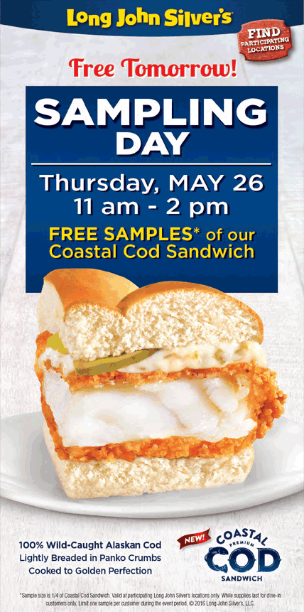 Long John Silvers Coupon August 2017 Cod sandwich samples are free today at Long John Silvers