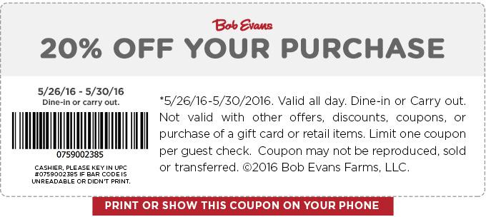 Bob Evans Coupon March 2017 20% off at Bob Evans restaurants