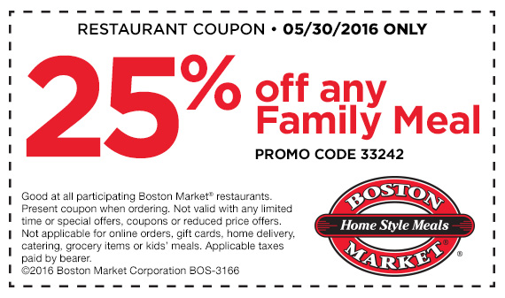 Boston Market Coupon August 2017 25% off a family meal Monday at Boston Market