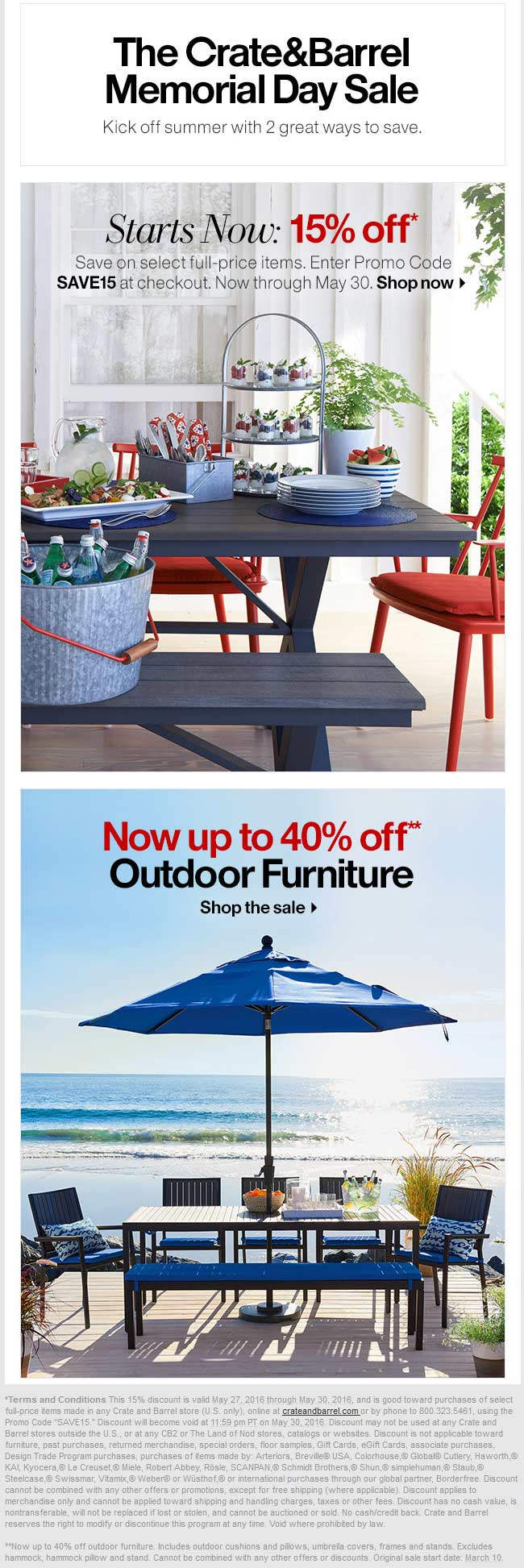 Crate & Barrel Coupon May 2017 15% off at Crate & Barrel, or online via promo code SAVE15
